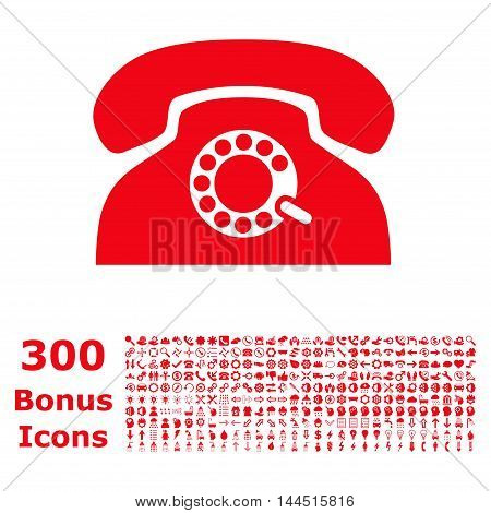Pulse Phone icon with 300 bonus icons. Vector illustration style is flat iconic symbols, red color, white background.