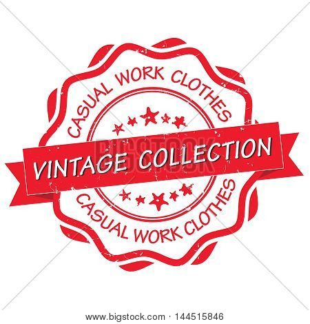 Vintage collection, casual work clothes - grunge red stamp / label. Print colors used.