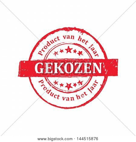 Chosen product of the year (Dutch language: Product van het jaar gekozen) - grunge red printable label / icon / stamp. Grunge layer is applied exactly on the colored stamp.