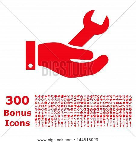 Repair Service icon with 300 bonus icons. Vector illustration style is flat iconic symbols, red color, white background.