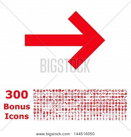 Right Arrow icon with 300 bonus icons. Vector illustration style is flat iconic symbols, red color, white background.