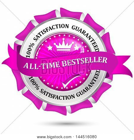 All-time best seller, Satisfaction Guaranteed - metallic pink icon / stamp for business retail community.