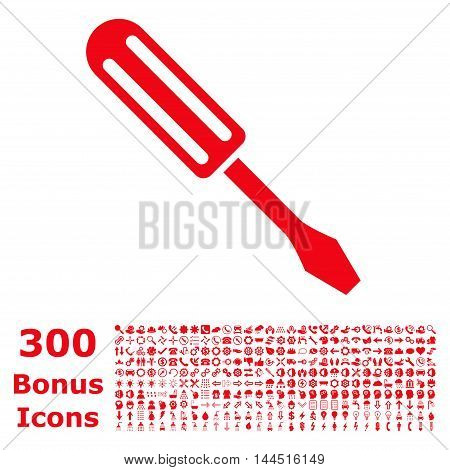 Screwdriver icon with 300 bonus icons. Vector illustration style is flat iconic symbols, red color, white background.