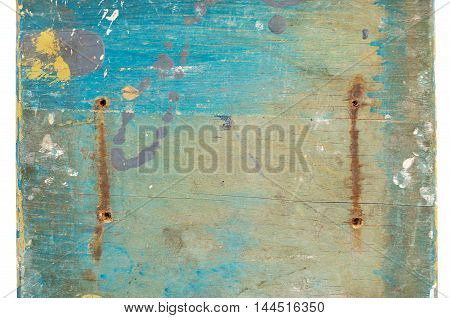 Multicolored background: old wooden multicolored surface with blue paint and cracking texture