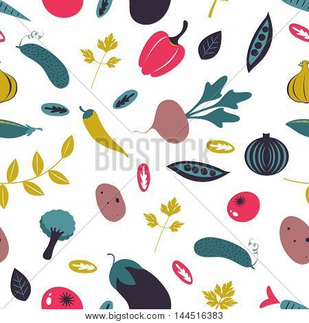 Colorful farm vegetables seamless pattern. Vector illustration