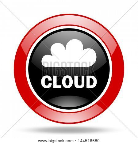 cloud round glossy red and black web icon