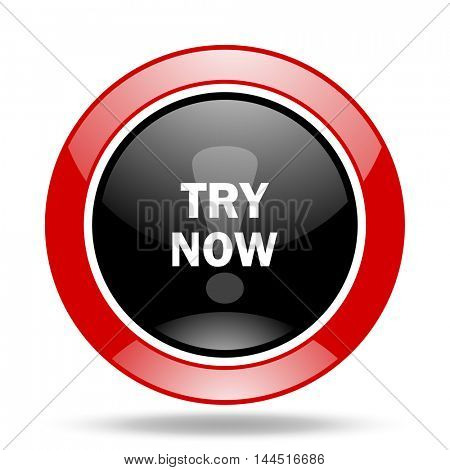 try now round glossy red and black web icon