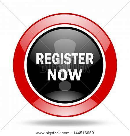 register now round glossy red and black web icon