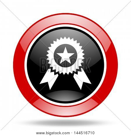 award round glossy red and black web icon