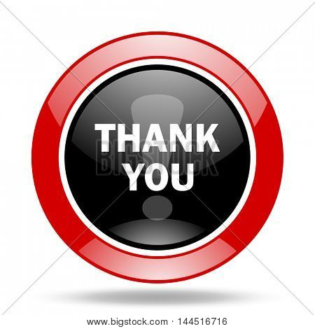 thank you round glossy red and black web icon