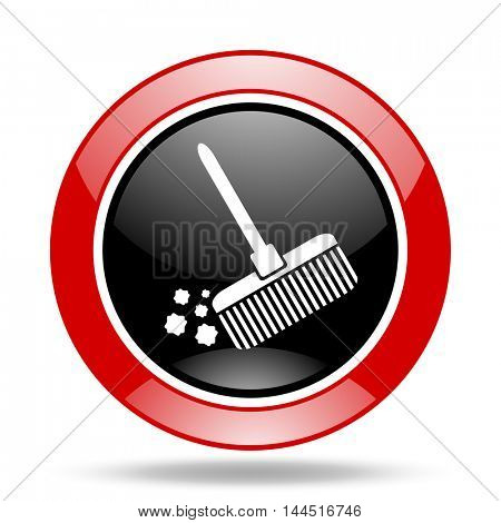 broom round glossy red and black web icon