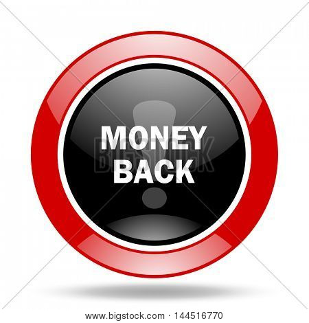 money back round glossy red and black web icon
