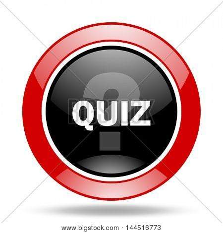 quiz round glossy red and black web icon