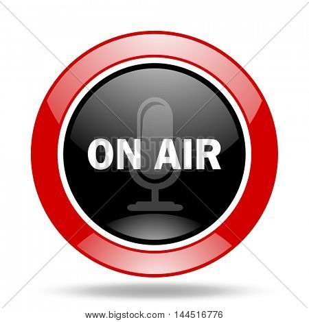 on air round glossy red and black web icon
