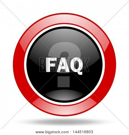 faq round glossy red and black web icon