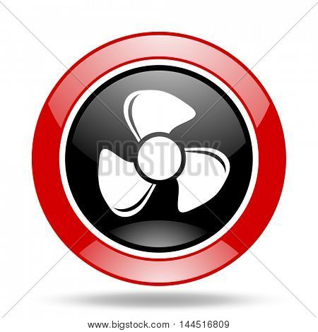 fan round glossy red and black web icon