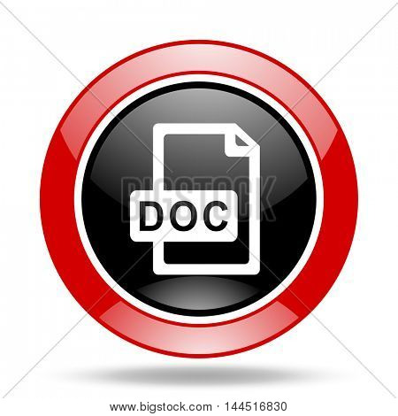 doc file round glossy red and black web icon