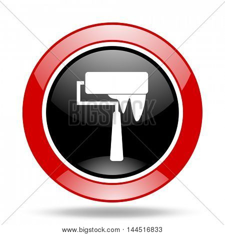 brush round glossy red and black web icon