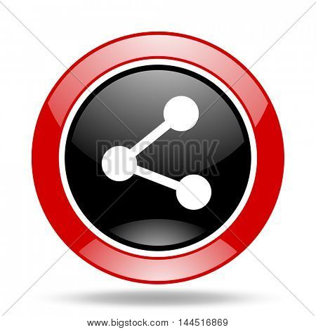 share round glossy red and black web icon