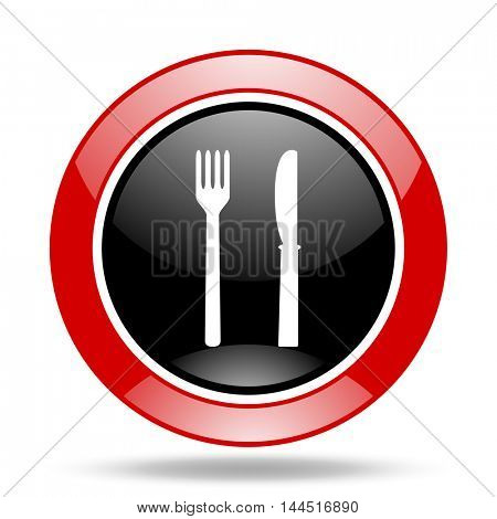 eat round glossy red and black web icon