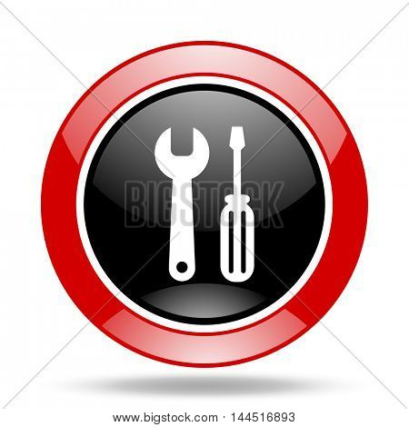 tool round glossy red and black web icon