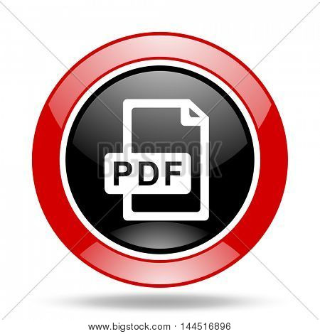 pdf file round glossy red and black web icon