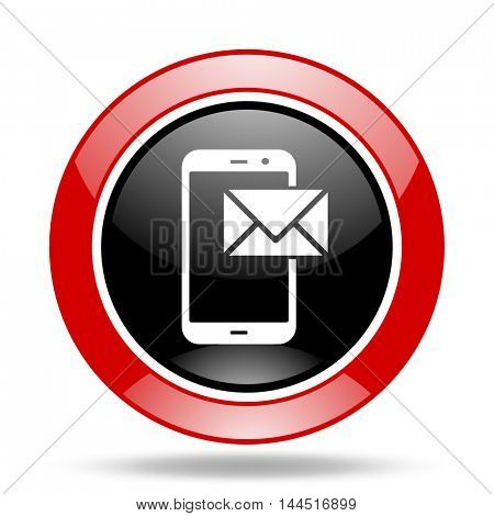 mail round glossy red and black web icon