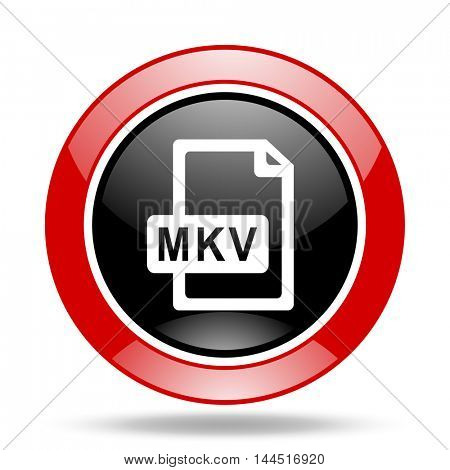mkv file round glossy red and black web icon