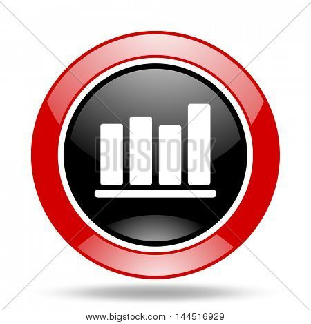 bar chart round glossy red and black web icon