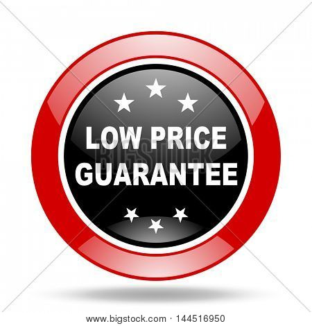 low price guarantee round glossy red and black web icon