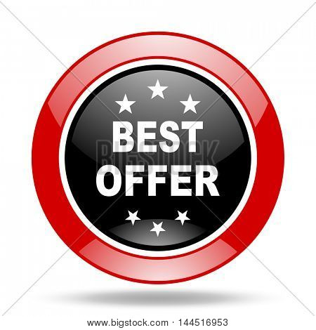 best offer round glossy red and black web icon