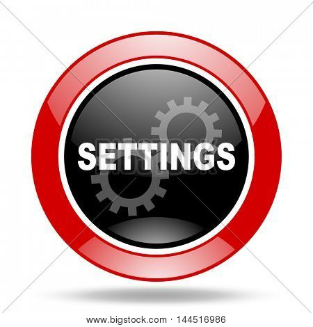 settings round glossy red and black web icon