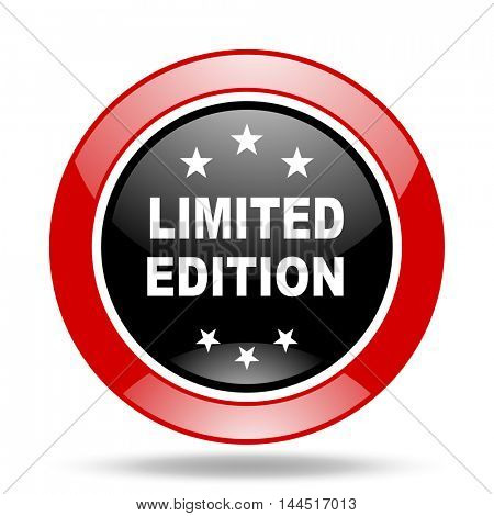 limited edition round glossy red and black web icon