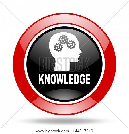 knowledge round glossy red and black web icon
