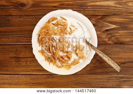 Healthy breakfast - milk with corn flakes
