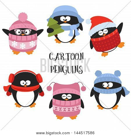Set of cartoon penguins. Penguins set isolated. Vector illustration for Christmas design.