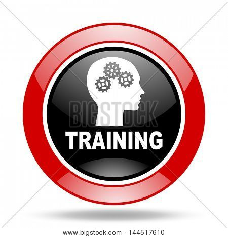 training round glossy red and black web icon