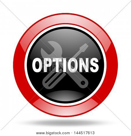 options round glossy red and black web icon