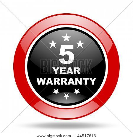 warranty guarantee 5 year round glossy red and black web icon