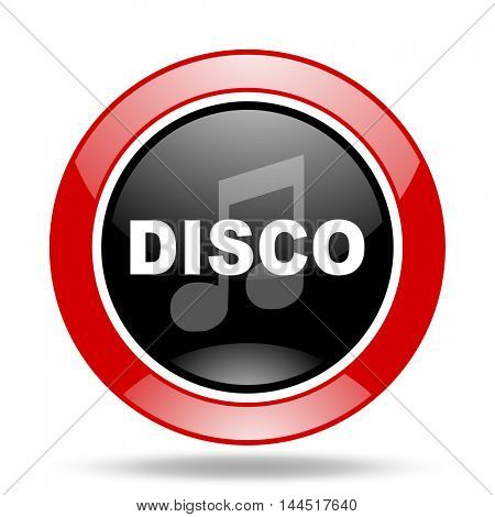 disco music round glossy red and black web icon