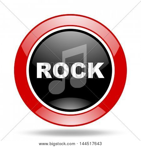 rock music round glossy red and black web icon