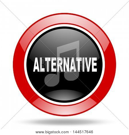 alternative music round glossy red and black web icon