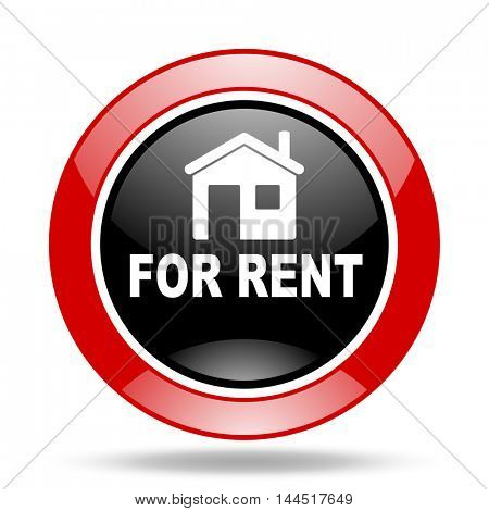 for rent round glossy red and black web icon