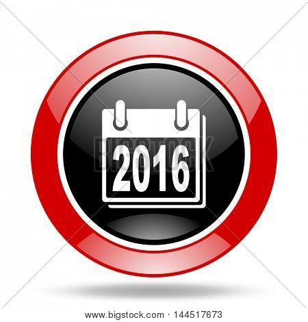 new year 2016 round glossy red and black web icon