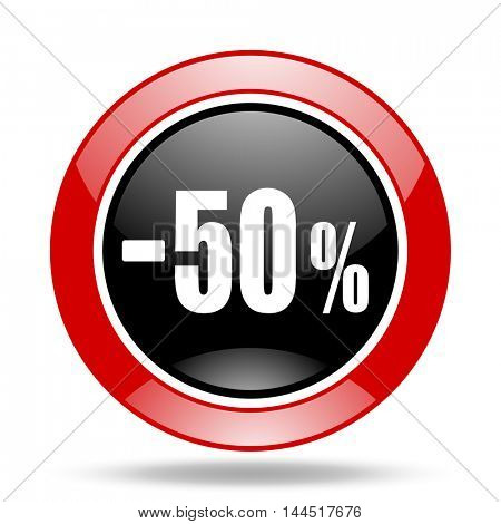 50 percent sale retail round glossy red and black web icon