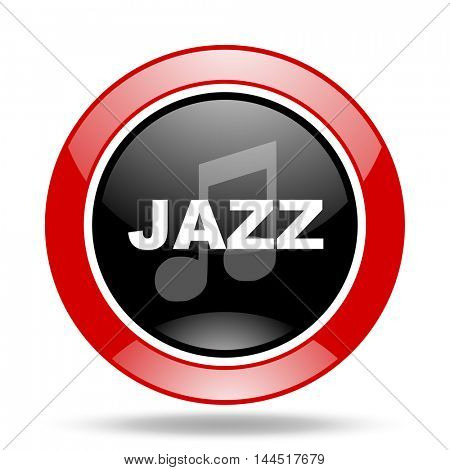 jazz music round glossy red and black web icon