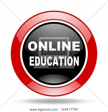 online education round glossy red and black web icon