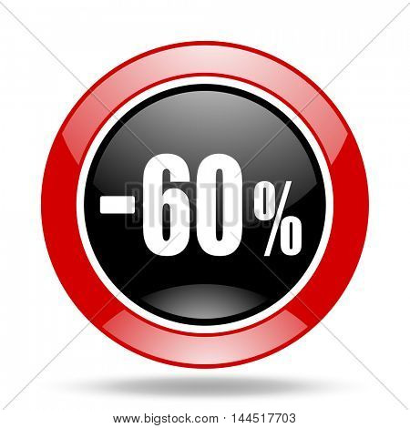 60 percent sale retail round glossy red and black web icon