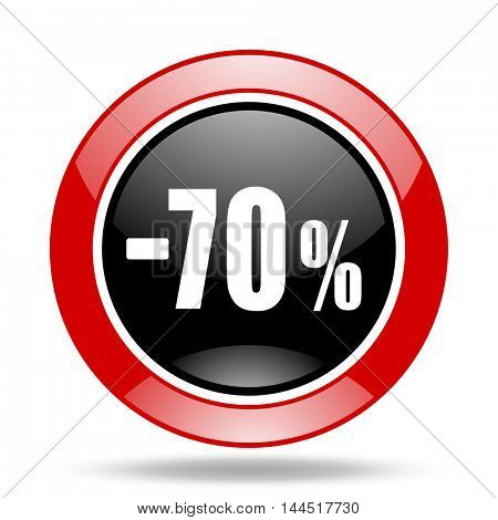 70 percent sale retail round glossy red and black web icon