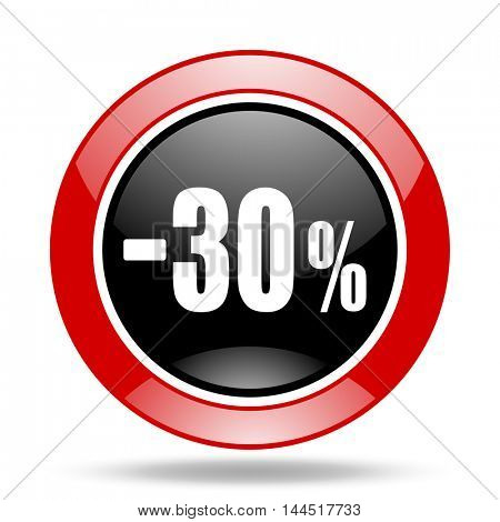 30 percent sale retail round glossy red and black web icon